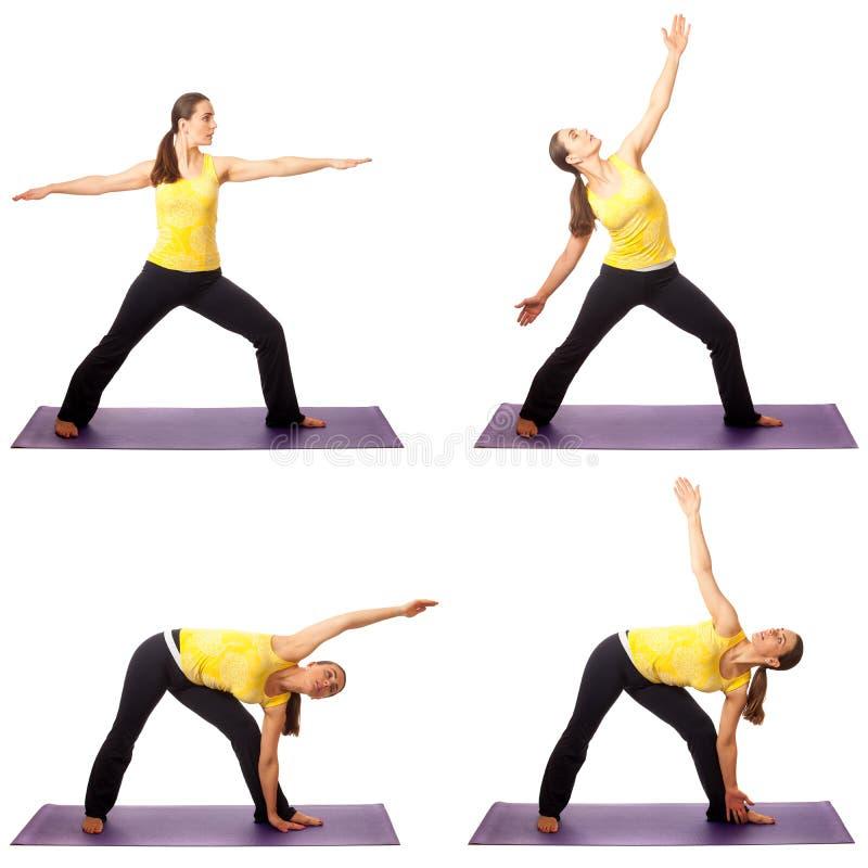 Yoga poserar serie arkivfoton
