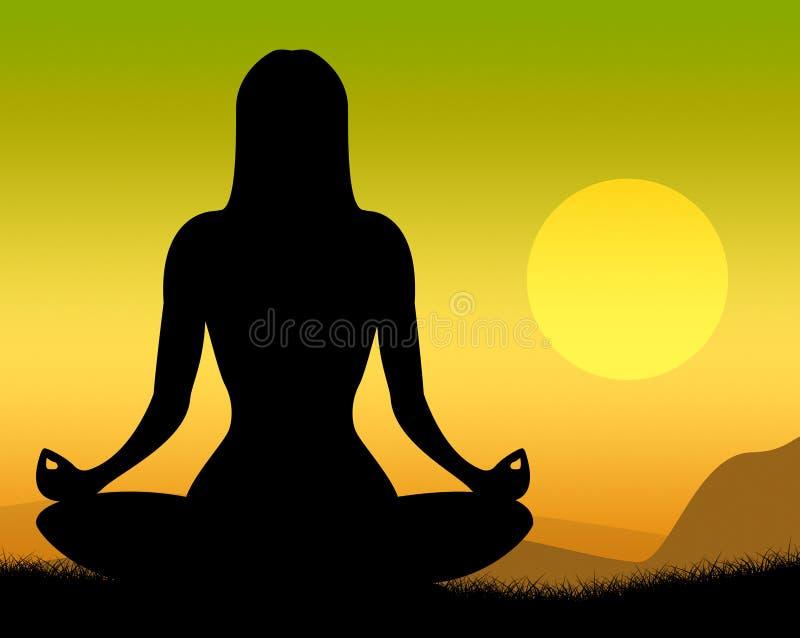 Yoga poserar shower poserar fridsamt och meditation stock illustrationer