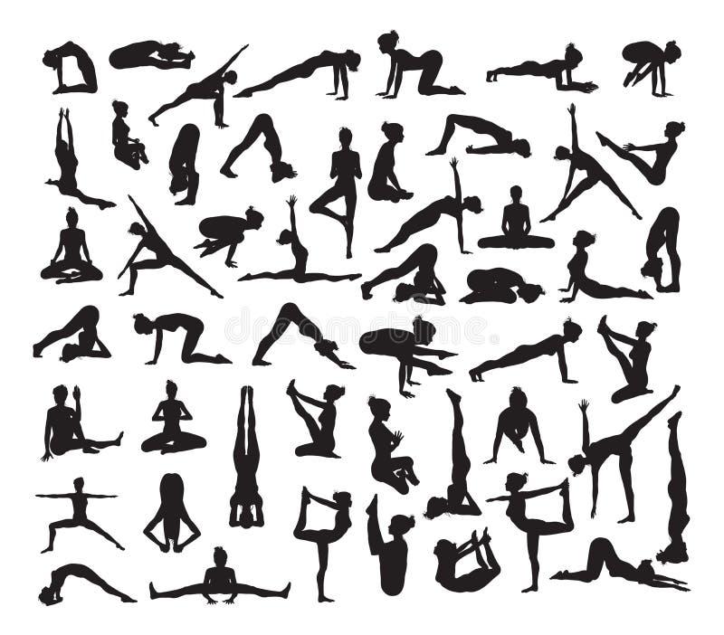 Yoga poserar Silhouettes stock illustrationer