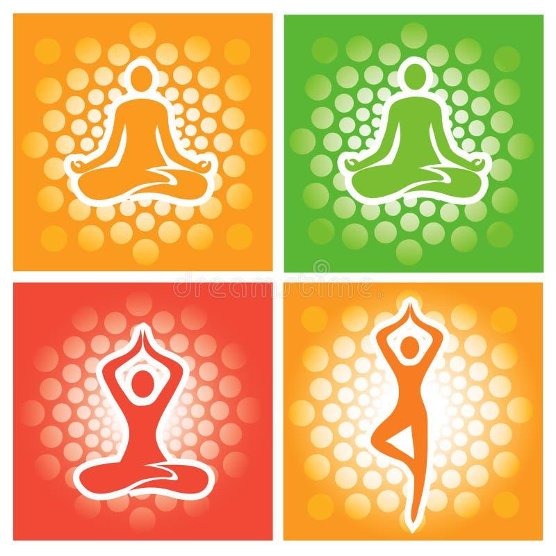 Yoga poserar symboler vektor illustrationer
