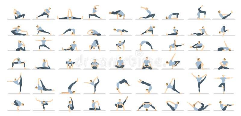Yoga poserar uppsättningen royaltyfri illustrationer