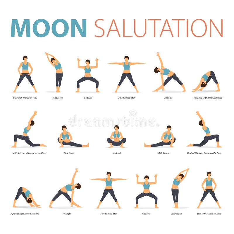 Free Yoga Poses For Yoga At Home In Concept Of Yoga Moon Salutation In Flat Design. Woman Exercising For Body Stretching. Vector. Royalty Free Stock Photo - 183483685