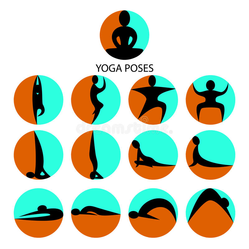 Yoga poses icons set. Abstract silhouettes royalty free illustration