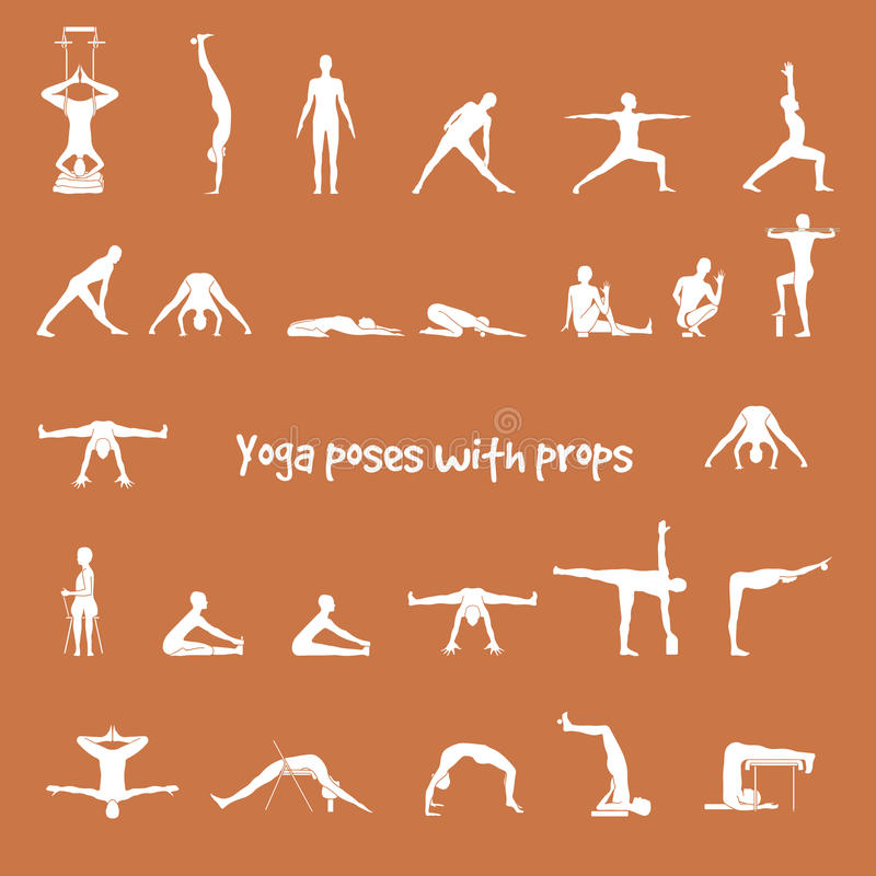 Yoga poses with props in vector. Seamless pattern