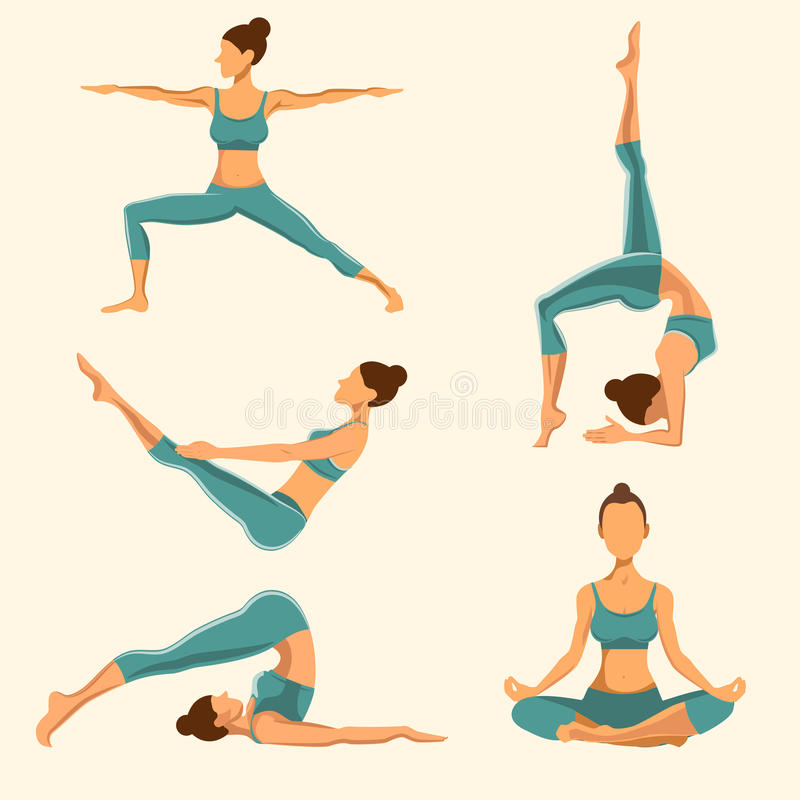 Yoga Poses Set Vector Illustration Stock Vector Illustration Of East Isolated 63388880