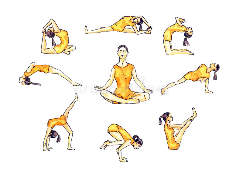 Download Yoga Poses Set Woman In Orange Sportswear Asana Simple Illustrative Collection