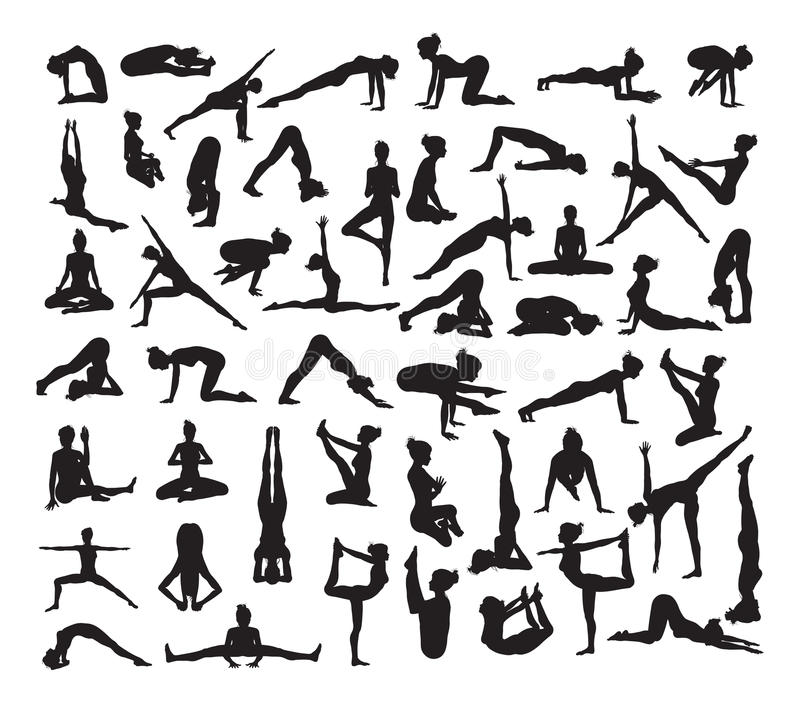 Yoga Poses Silhouettes stock illustration