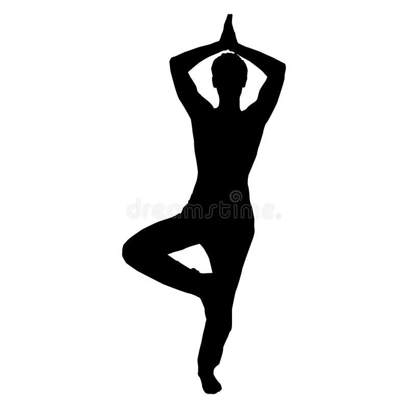 Download Yoga Poses Tree Pose Black Icon Man Stock Vector