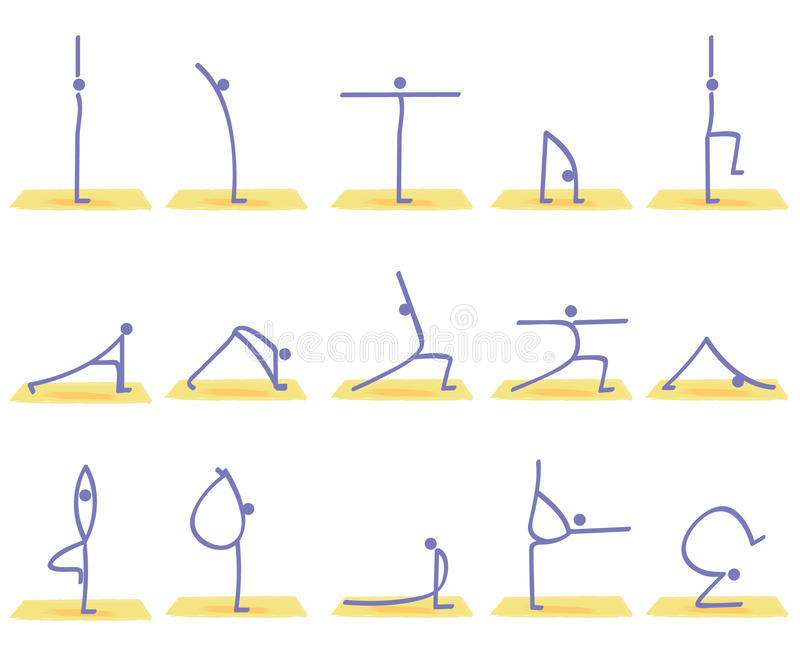 Yoga poses vector. Illustration of stylized yoga postures + vector eps file vector illustration