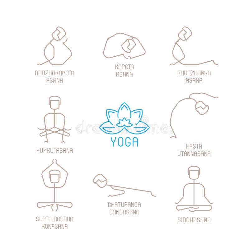 Download Yoga Poses Vector Illustration In Mono Line Style Stock
