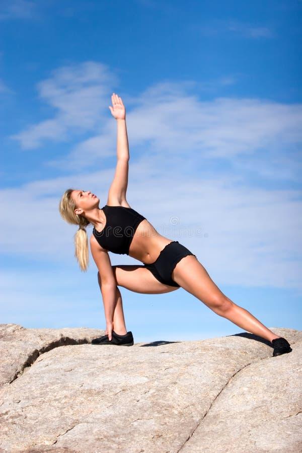Download Yoga position stock image. Image of exercising, desert - 6955899