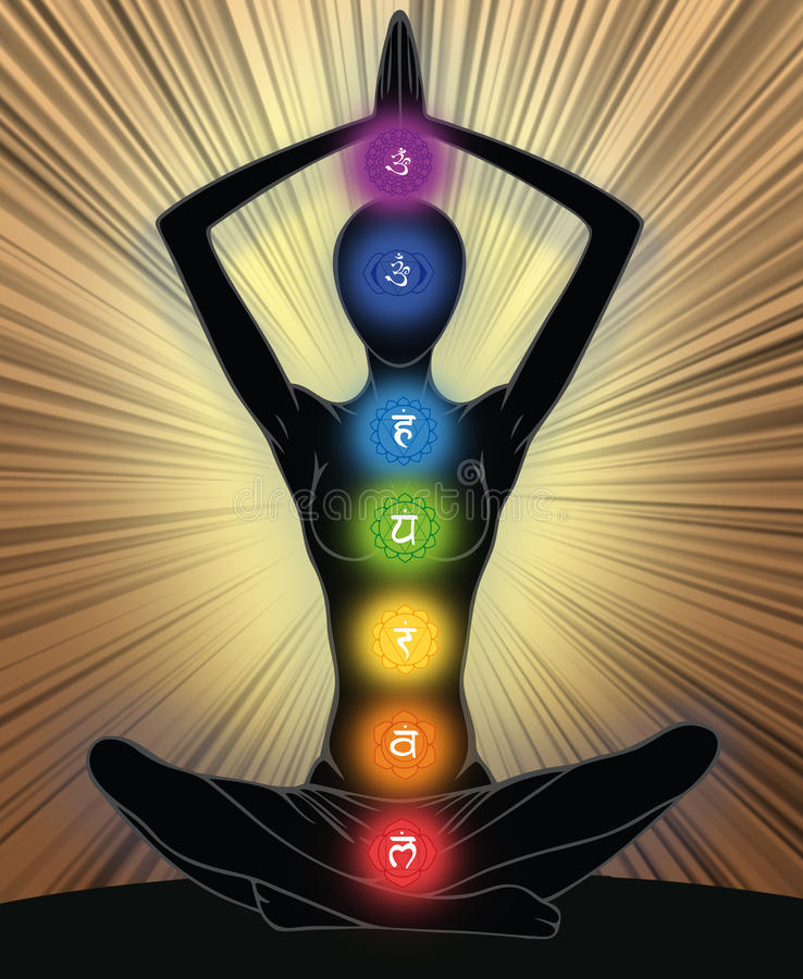 Yoga position. Woman silhouette in yoga position with the symbols of seven chakras stock illustration