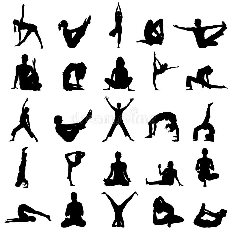 Yoga positions vector vector illustration