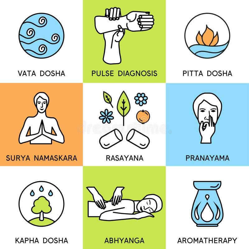 Set linear icons for ayurveda design. Ayurveda vector illustration. Ayurveda logos in outline style. Design elements for ayurveda center, yoga studio, spa royalty free illustration