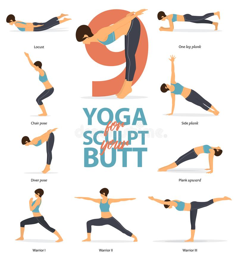 Free Yoga Postures Female Figures Infographic . 6 Yoga Poses For Sculpt Your Butt In Flat Design. Vector Illustration. Royalty Free Stock Photos - 148424768