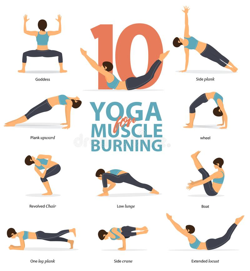 Yoga postures female figures Infographic . 10 Yoga poses for Muscle Burning in flat design. royalty free illustration