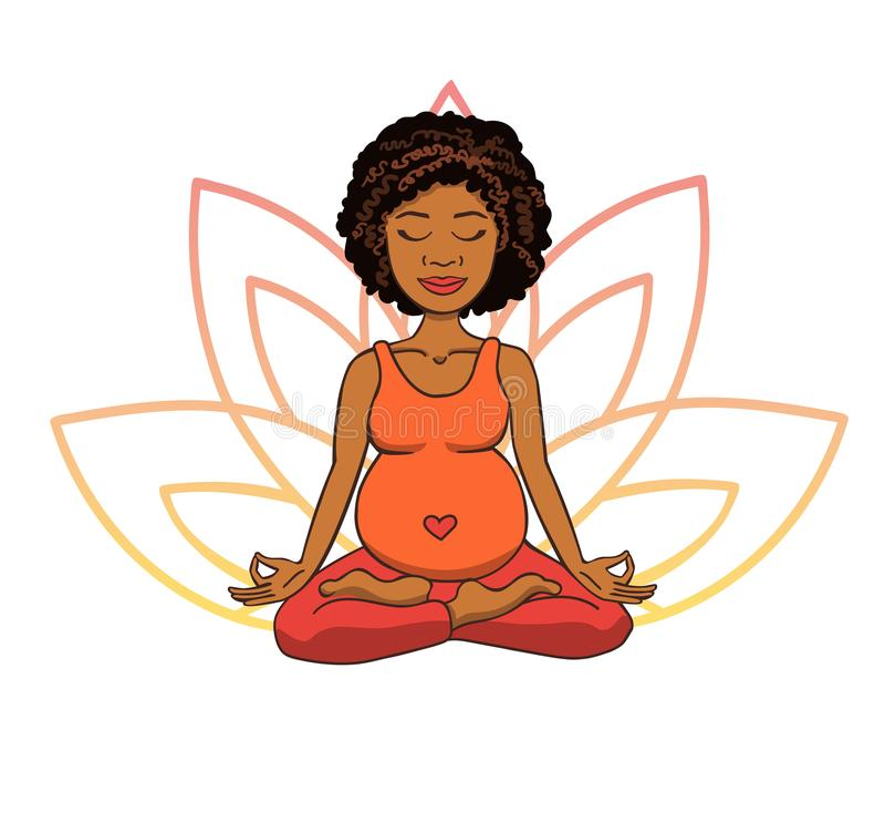 Yoga prénatal Dirigez l'illustration de la jeune fille africaine mignonne méditant en position de lotus avec des pétales de fleur illustration stock