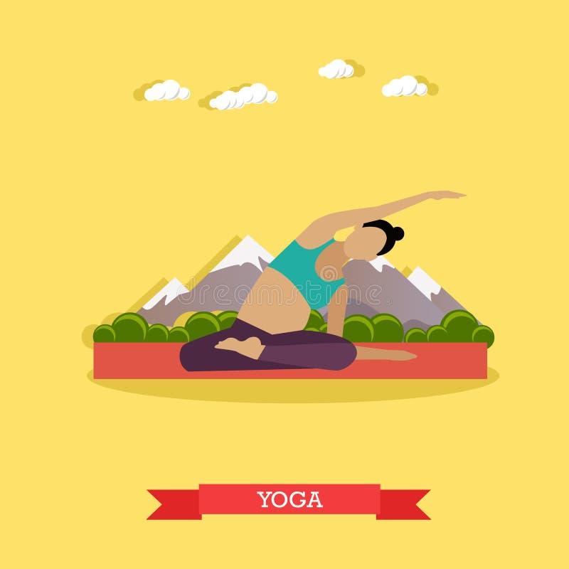 Yoga practicante de la muchacha embarazada al aire libre Diseño plano ilustración del vector
