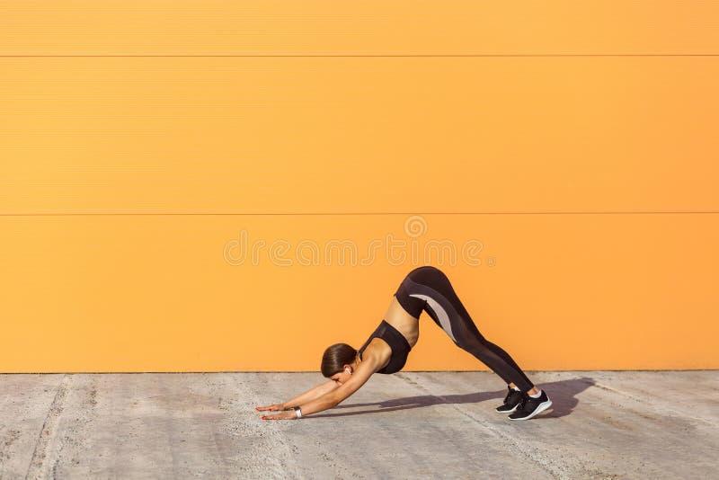 Yoga practicante de la mujer deportiva joven, haciendo ejercicio boca abajo del perro, actitud del svanasana del mukha del adho,  fotos de archivo