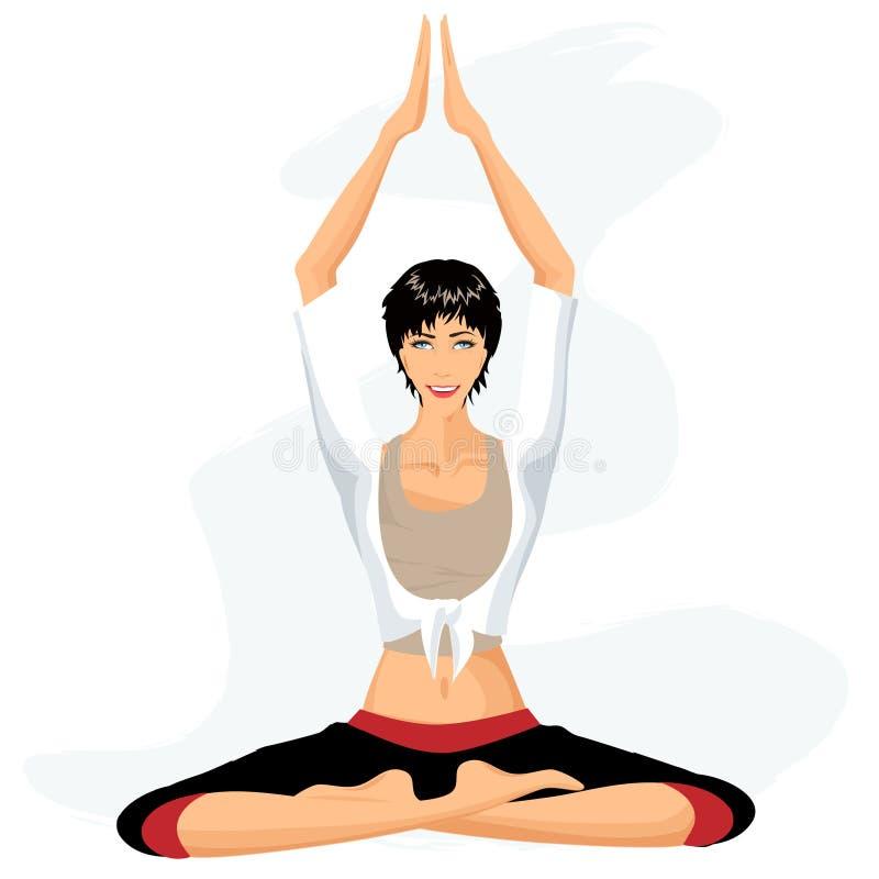 Yoga practicante de la mujer hermosa en postura del loto ilustración del vector