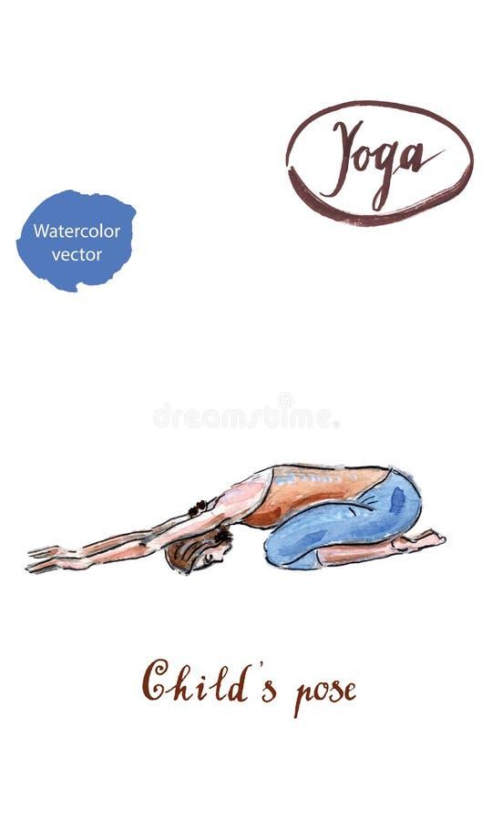 Yoga practicante de la mujer joven, sentándose en ejercicio del niño, Balasana libre illustration