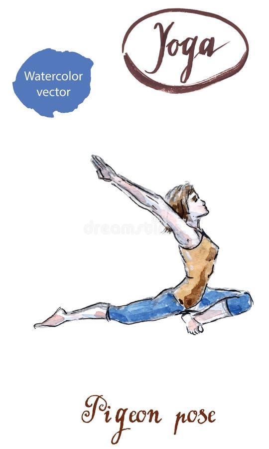 Yoga practicante de la mujer que entra en rey Pigeon Pose ilustración del vector
