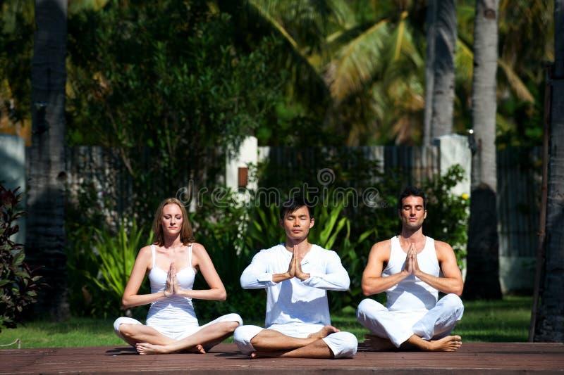 Yoga practicante del grupo imagen de archivo libre de regalías