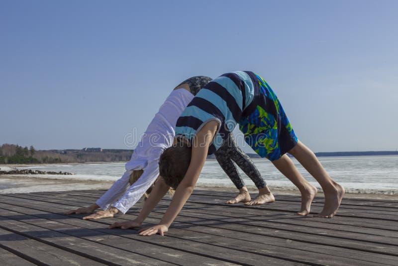 Yoga practicante del niño de la mujer joven y del muchacho, colocándose en ejercicio boca abajo del perro imagenes de archivo