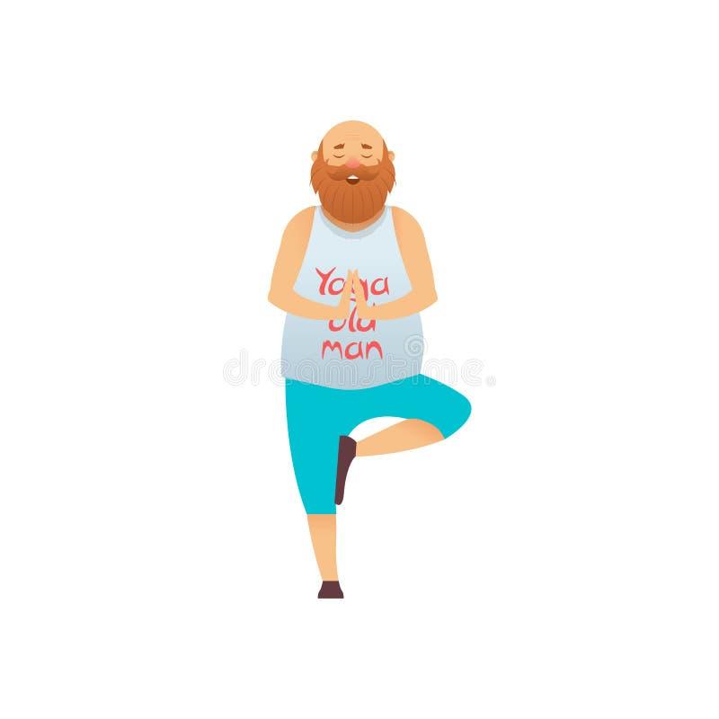 Yoga practicante del viejo hombre libre illustration