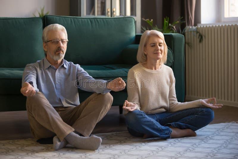 Yoga practicante envejecida media tranquila de los pares junto, meditando en casa fotografía de archivo libre de regalías