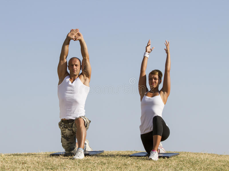 Yoga practise. In nature royalty free stock images