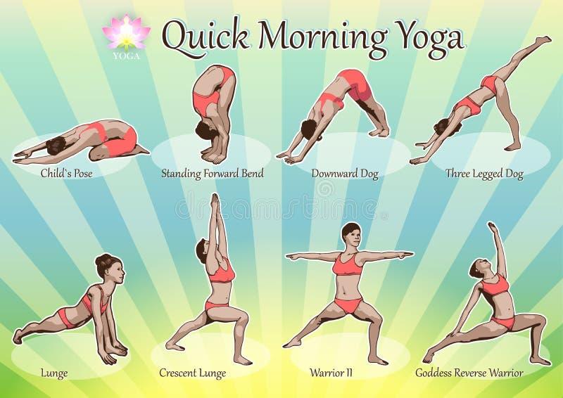 Yoga rápida de la mañana ilustración del vector