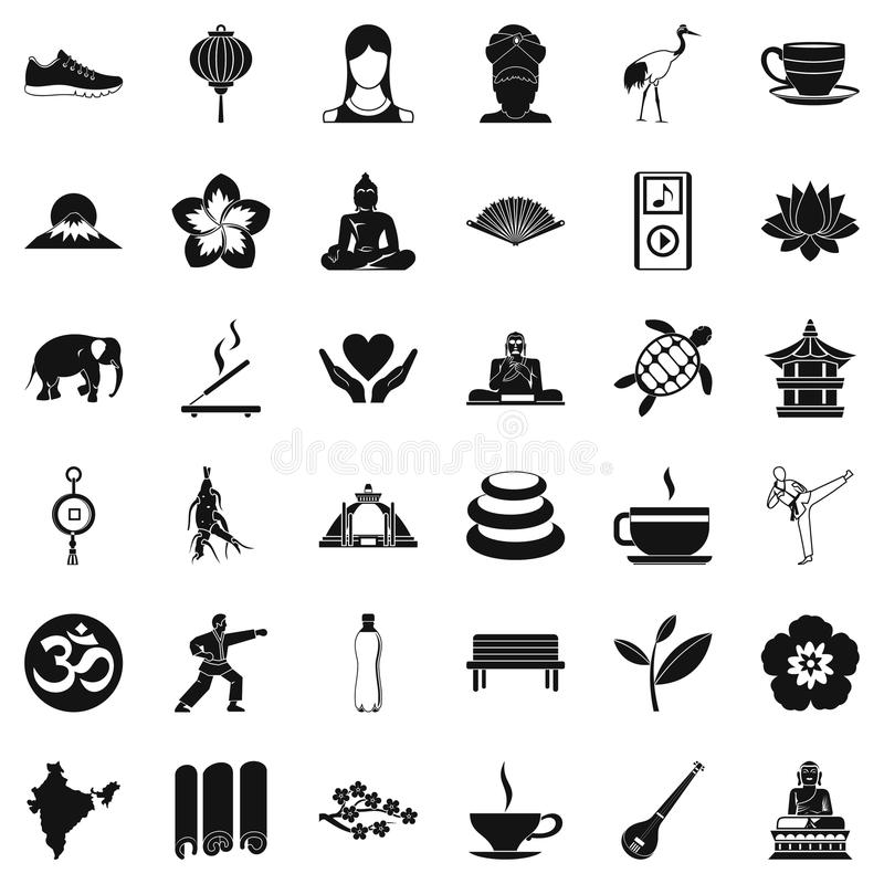 Yoga relaxation icons set, simple style vector illustration