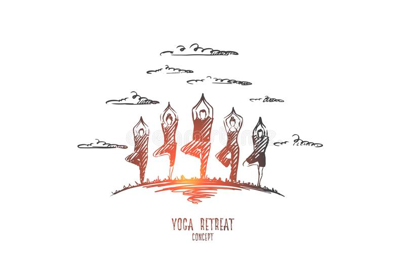Yoga retreat concept. Hand drawn isolated vector. Yoga retreat concept. Hand drawn people doing yoga exercises outdoor. People practicing yoga isolated vector royalty free illustration