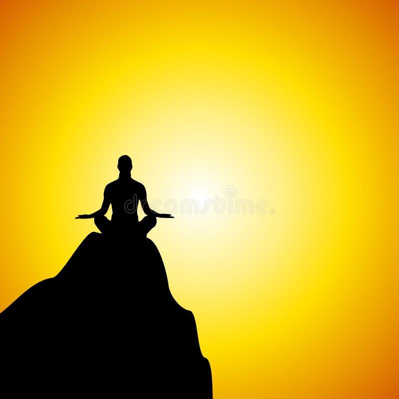 Yoga-Schattenbild auf Berg am Sonnenuntergang lizenzfreie abbildung