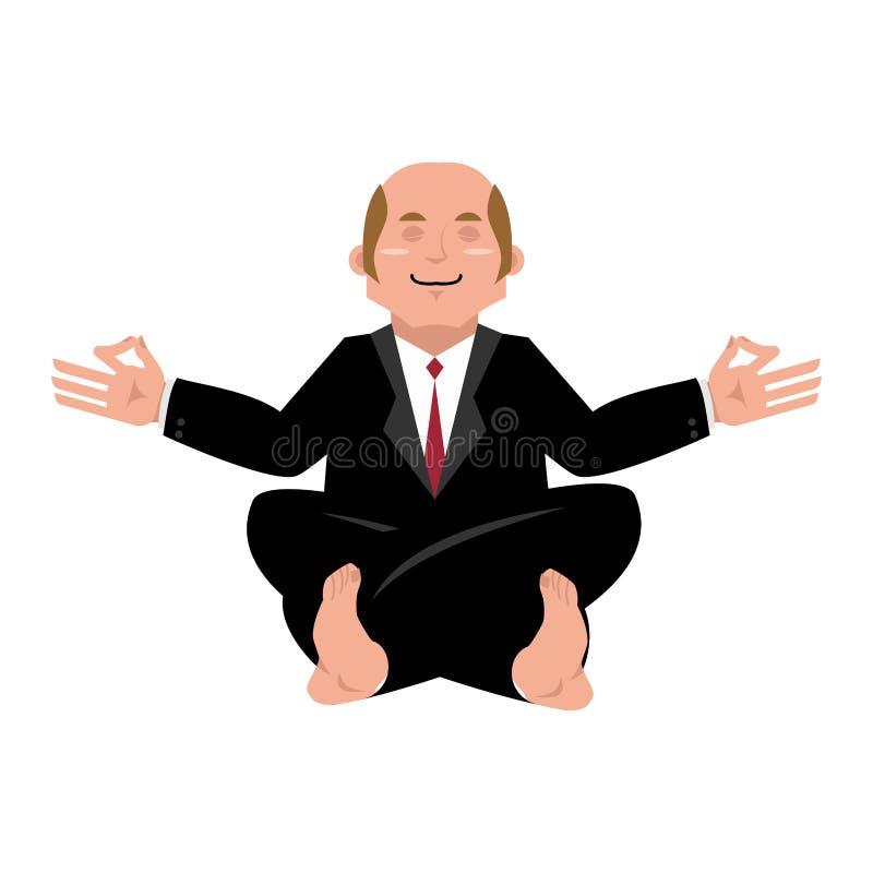 yoga se reposant de position de lotus d'homme d'affaires d'affaires plein Méditer d'homme d'affaires d'isolement Patron de yogi o illustration libre de droits