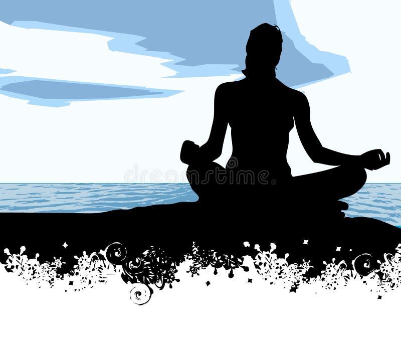 Yoga at the sea royalty free illustration