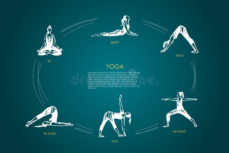 Yoga - siéntese, doble, arquee, sus brazos, holgura, extremidad sobre sistema del concepto del vector stock de ilustración