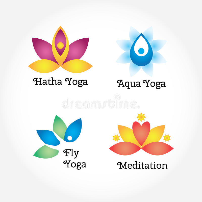 Download Yoga Signs Set Hatha Aqua Fly Meditation Flowers And Body