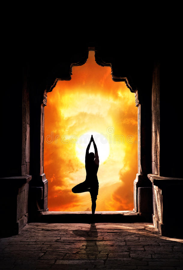 Download Yoga Silhouette In Temple Royalty Free Stock Images - Image: 25411369