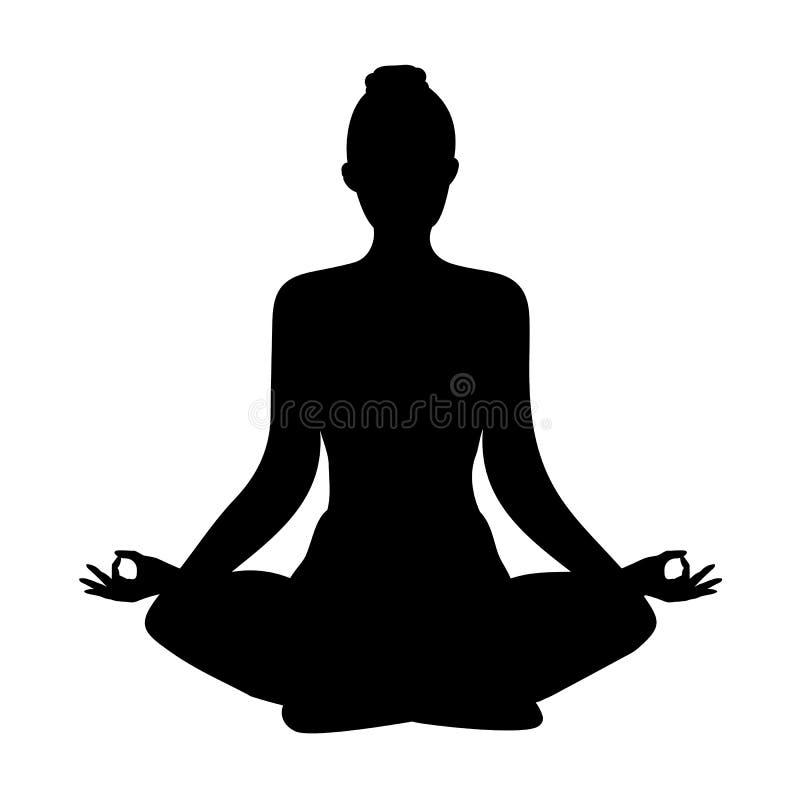 Yoga silueta de la posición de loto Copos de nieve libre illustration
