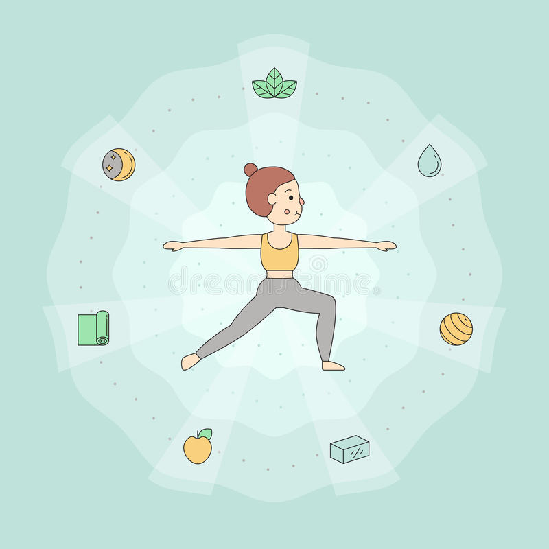 Yoga simple background with young woman in Warrior II pose. vector illustration