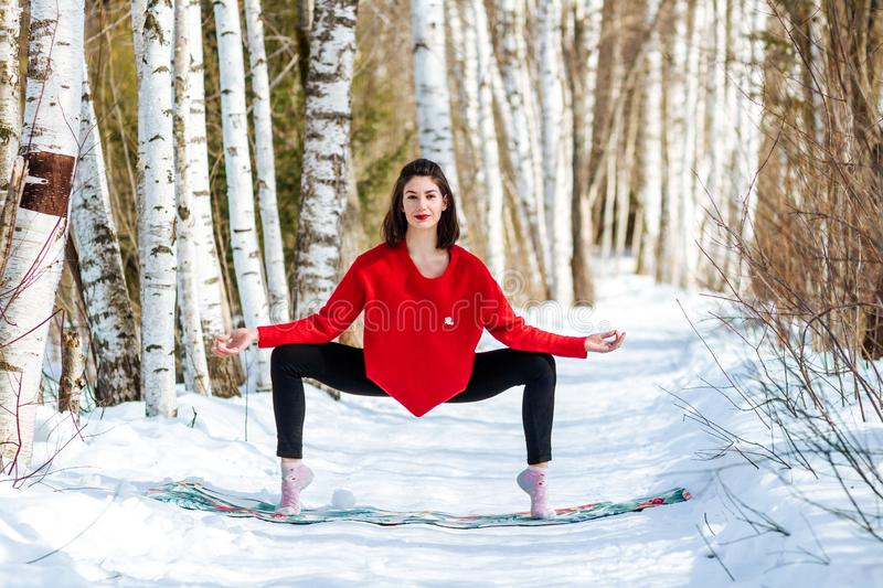 Yoga in the snow. Girl practicing yoga in the Park. Time of year winter. Snow-covered trees. royalty free stock photography