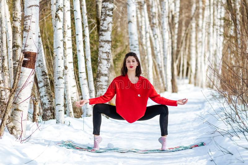 Yoga in the snow. Girl practicing yoga in the Park. Time of year winter. Snow-covered trees. stock photography