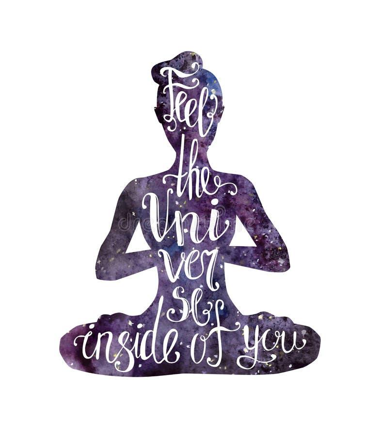 Yoga som letteing med utrymmetextur royaltyfri illustrationer