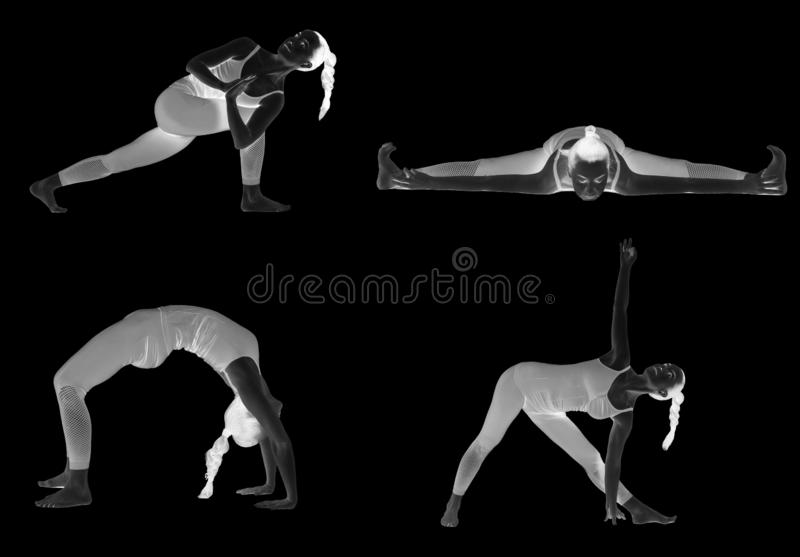 Yoga som ?r olik poserar p? en vit bakgrund, isolat ?vningsyogainstrukt?r som undervisar en kurs stock illustrationer