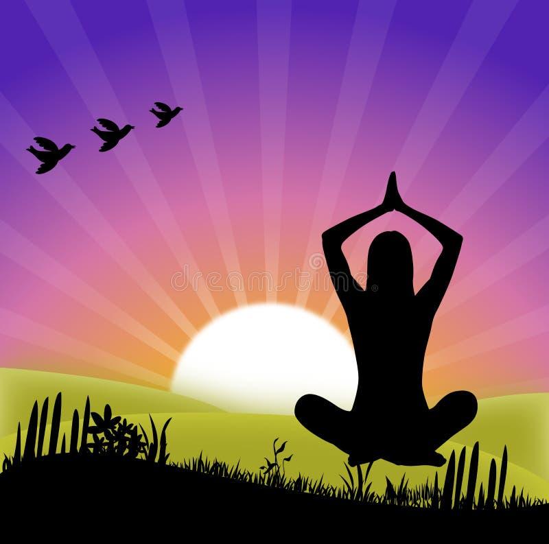 Yoga am Sonnenaufgang lizenzfreie abbildung