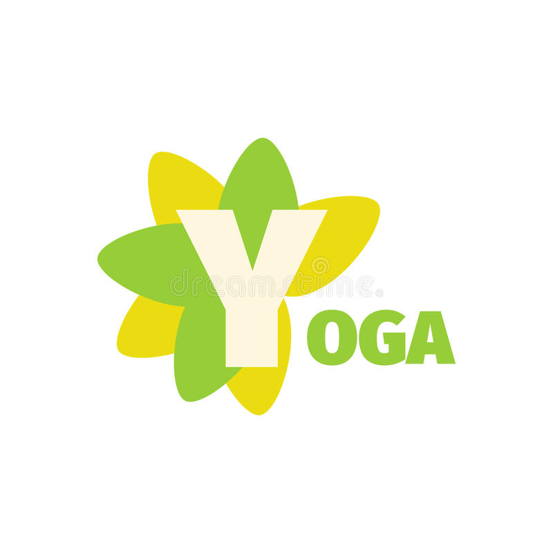 Yoga sport club green logo design template with flower. Letter Y stock illustration