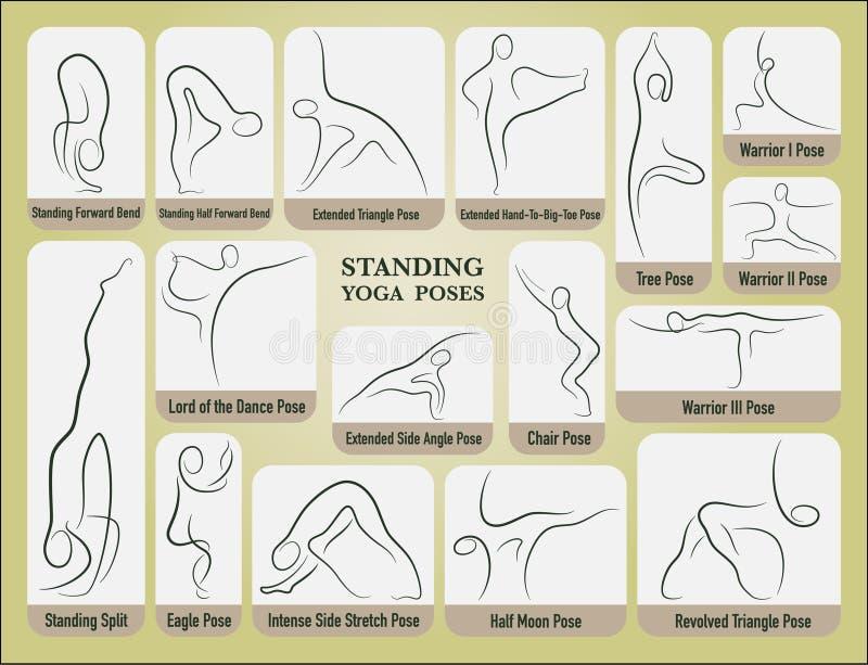 Yoga Stand Poses Set Stock Vector Illustration Of Illustration 68509913