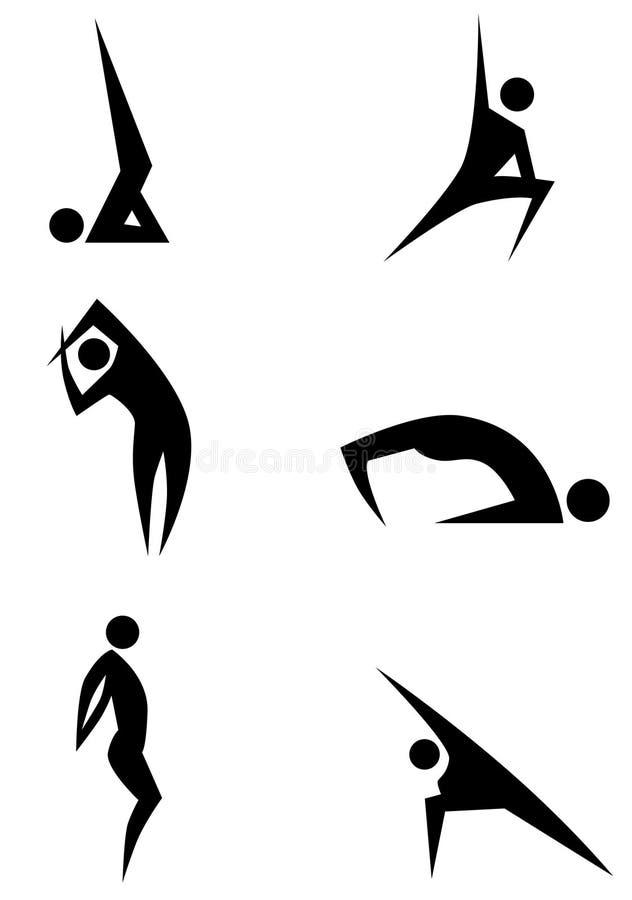 Yoga Stick Figure Set stock illustration